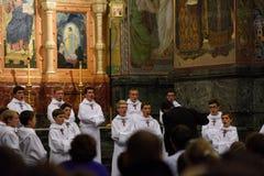 Concerto de cantores pequenos do coro do ` dos meninos de Paris Fotografia de Stock Royalty Free