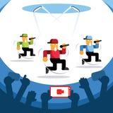 Concerto de fluência video com dança de três cantores ilustração stock