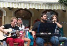 Concerto della banda di blu misera sul festival della via di Keszthely Fotografia Stock