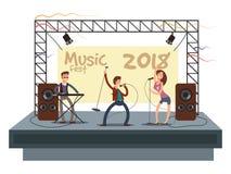 Concerto di festival di musica con la banda di musica pop che gioca musica Illustrazione di vettore del duetto del cantante e del illustrazione vettoriale