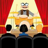 Concerto di musica del batterista nella comune-stanza illustrazione di stock