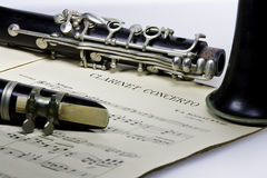Concerto Mozart del clarinetto con il clarinetto di Bes Fotografia Stock