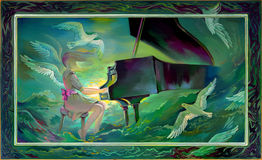 Concerto for Orchestra and Sea. Portrait of beautiful girl playing the piano in the fantasy environment. Oil painting on wood. Royalty Free Stock Photos