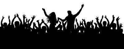 Concerto, partido Silhueta da multidão do aplauso, pessoa alegre Fotografia de Stock