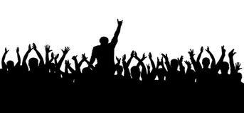Concerto, partido Silhueta da multidão do aplauso, pessoa alegre Cheering engraçado Imagem de Stock