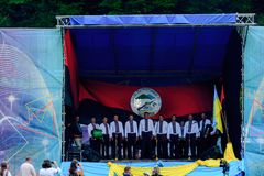 Concerto patriottico Yavorina in Ucraina occidentale fotografia stock