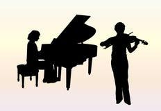 Concerto per il piano ed il violino Fotografia Stock