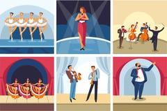 Concertos que dançam e que cantam a ópera da mostra e a orquestra e a taberna do bailado ilustração stock
