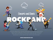 Concerts and events rockband banner. Vector illustration. Singer, guitarist, drummer, solo guitarist, bassist, keyboardist characters performs on stage. Rock Stock Photos
