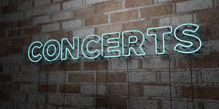 CONCERTS - Glowing Neon Sign on stonework wall - 3D rendered royalty free stock illustration Stock Photo