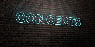 CONCERTS -Realistic Neon Sign on Brick Wall background - 3D rendered royalty free stock image. Can be used for online banner ads and direct mailers Royalty Free Stock Photo