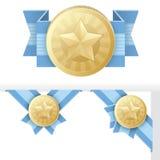 Concesión, certificación, o sello de la estrella del oro Foto de archivo libre de regalías