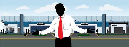 Concesión de coche con el vendedor Imagen de archivo