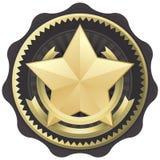 Concesión, divisa, o sello de la estrella del oro Foto de archivo libre de regalías