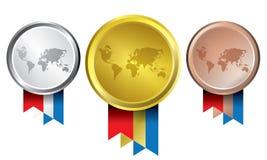 Concesiones como medallas - oro, plata y bronce Imagen de archivo