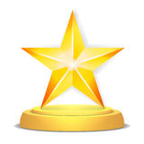 Concessão da estrela do ouro Ilustração brilhante do vetor Troféu moderno, prêmio do desafio Projeto bonito da etiqueta Isolado Imagem de Stock Royalty Free