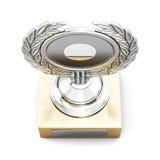 Concessão de prata do troféu com a grinalda do louro isolada no backgro branco Imagens de Stock