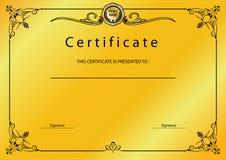 Concessão do certificado do vintage do ouro/molde do diploma Imagens de Stock