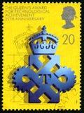 Concessão do Queens para o selo postal tecnologico do Reino Unido da realização Foto de Stock