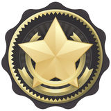 Concessão, emblema, ou selo da estrela do ouro Foto de Stock Royalty Free