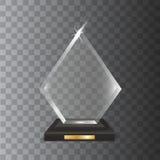 Concessão vazia realística transparente do troféu do vidro acrílico do vetor ilustração royalty free