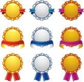 Concessões de bronze de prata do ouro com jogo do projeto da bandeira Imagem de Stock Royalty Free