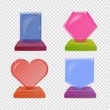Concessões de vidro realísticas ajustadas do troféu Ilustração colorida isolada para o fundo da transparência Conceito gráfico pa Fotos de Stock