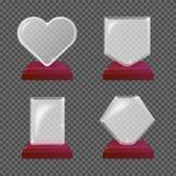 Concessões de vidro realísticas modernas do troféu Ilustração isolada para o fundo da transparência Conceito gráfico para seu pro ilustração royalty free