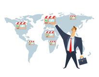 Concessie, handelnetwerk, concepten vectorillustratie De zakenman zet winkels op de wereldkaart Het schrapen van zaken vector illustratie