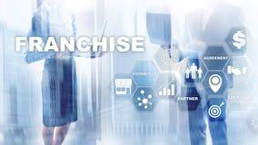 Concessieconcept op het virtuele scherm Marketing het Brandmerken en détail en het Concept van de Bedrijfs het Werkopdracht stock fotografie