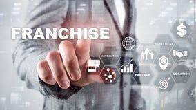 Concessieconcept op het virtuele scherm Marketing het Brandmerken en détail en het Concept van de Bedrijfs het Werkopdracht royalty-vrije stock afbeelding