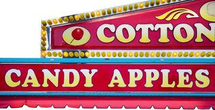 Concession stand. Food court signs at a state fair. Isolated on white Royalty Free Stock Image