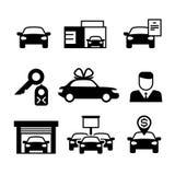 Concessionaire automobile, industrie automobile vendant, achetant et louant des icônes de vecteur Photo stock