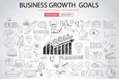 Concet de las metas del crecimiento del negocio con estilo del diseño del garabato Fotos de archivo libres de regalías