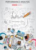 Concet di analisi del rendimento con stile di progettazione di scarabocchio Fotografia Stock