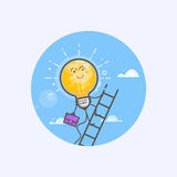 Concetti creativi di affari del disegno con l'idea d'ardore della lampadina Immagini Stock