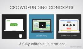 Concetti crowdfunding di vettore fissati Fondo online il progetto Donazione della rete Garante che usando Internet Progettazione  illustrazione di stock