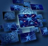 Concetti dei neuroni del cervello Fotografie Stock Libere da Diritti