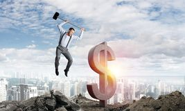 Concetti dei soldi e di affari globali Valuta di caduta del dollaro Immagini Stock
