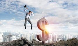 Concetti dei soldi e di affari globali Valuta di caduta del dollaro Fotografia Stock