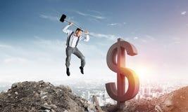 Concetti dei soldi e di affari globali Valuta di caduta del dollaro Fotografie Stock