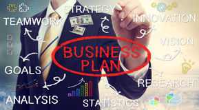 Concetti del business plan del disegno dell'uomo d'affari Fotografia Stock Libera da Diritti