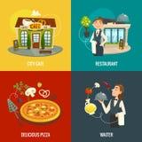 Concetti del caffè o del ristorante con il cameriere, la pizza e le verdure, illustrazione di vettore del fumetto Immagini Stock Libere da Diritti