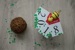 Concetti del nuovo anno 2018 sulla lavagna Fotografie Stock Libere da Diritti