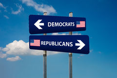 Concetti del repubblicano e di Democratico nell'elezione americana Fotografie Stock Libere da Diritti