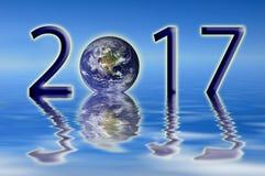 2017 concetti dell'ambiente della terra, saluti del nuovo anno Immagine Stock
