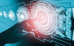Concetti dell'estratto dell'interfaccia di tocco del dito, comprendendo tecnologia e progettazione futuristiche molto moderne, co fotografie stock
