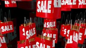 Concetti dell'iscrizione delle percentuali e di vendita sul nero illustrazione di stock