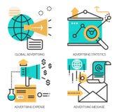 Concetti della pubblicità globale, statistiche di pubblicità illustrazione vettoriale