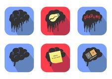 Concetti delle icone del cervello Vettore Immagini Stock